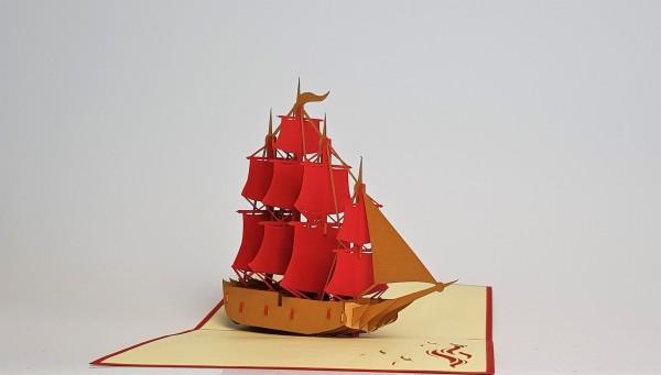 Grußkarte Schiff mit roten Segeln 3D