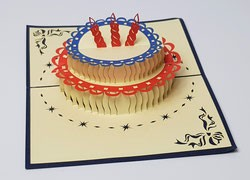Grußkarte Geburtstags Torte mit drei Kerzen 3D